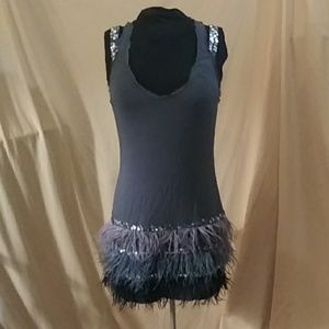 Bebe racerback tank mini dress with feathers as is